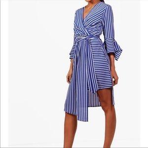 Asymmetrical Blue & White Stripe Dress-Boohoo